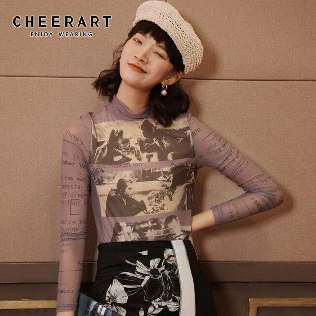 Cheerart Long Sleeve Mesh Top Women Turtleneck See Through Letter Printed Tshirt Transparent Top Purple Graphic T Shirts Fashion 1