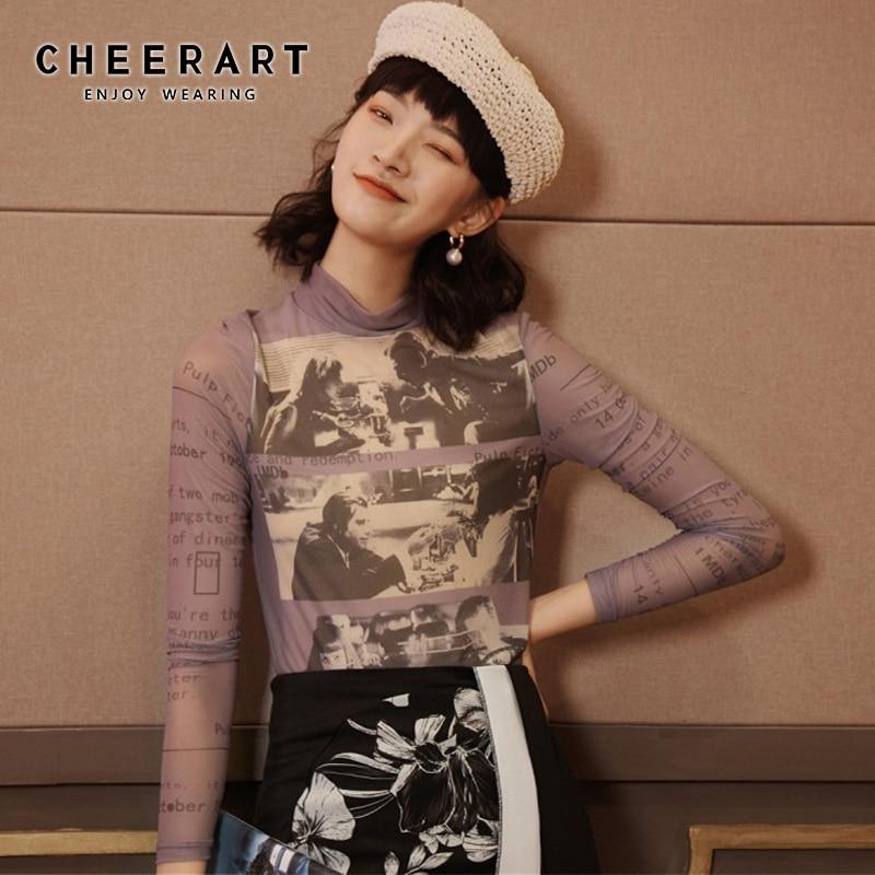 Cheerart Long Sleeve Mesh Top Women Turtleneck See Through Letter Printed Tshirt Transparent Top Purple Graphic T Shirts Fashion