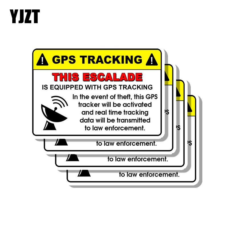 YJZT 4X 12CM*8CM Creative Warning GPS Tracking This Escalade PVC Decal Car Sticker 12-0188