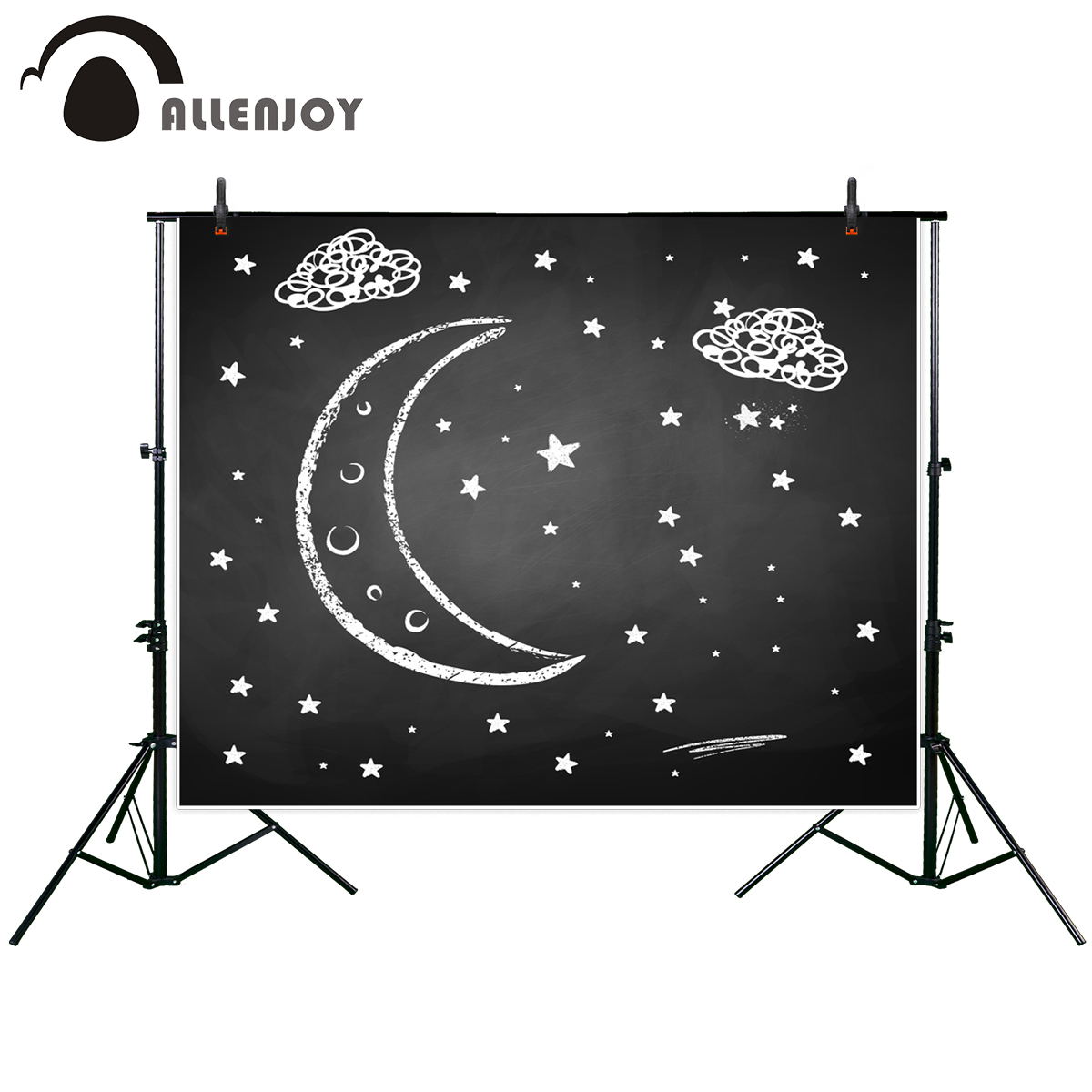 Allenjoy Chalkboard drawing photo backdrop night crescent stars cloud blackboard baby shower background photography studio props 215cm 150cm fundo stars in the night sky3d baby photography backdrop background lk 2161