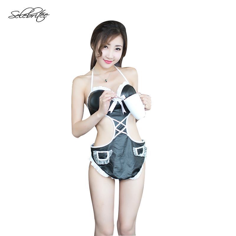 Sexy Adult Costumes Womens For Role-playing Games Erotic Female Polyester  Black Funny Maid Costumes White Lace Onesies Nightwear