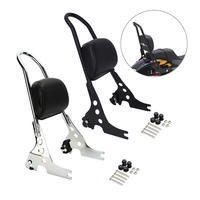 Triclicks black Chrome Passenger Backrest Pad Sissy Bar Cushion For Harley Sportster XL 883 1200