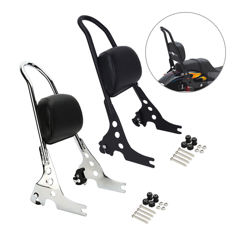 Triclicks noir Chrome passager dossier Pad Sissy Bar coussin pour Harley Sportster XL 883 1200
