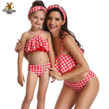 new summer baby swan swimsuit fashion ruffle flamingo kids swimsuit cute baby beach wear with matching hat free shipping yz066 2020 Brand Mother Daughter Swimsuit Family Matching Monokini New Summer Print Ruffle Swimwear Clothes Beach Outfit