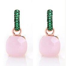 Moda feminina rosa ouro com preto chapeado brincos de zircão verde presente 14 cores