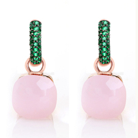 Women Fashion Rose Gold With Black Plated Green Zircon Earrings Gift 14 Colors
