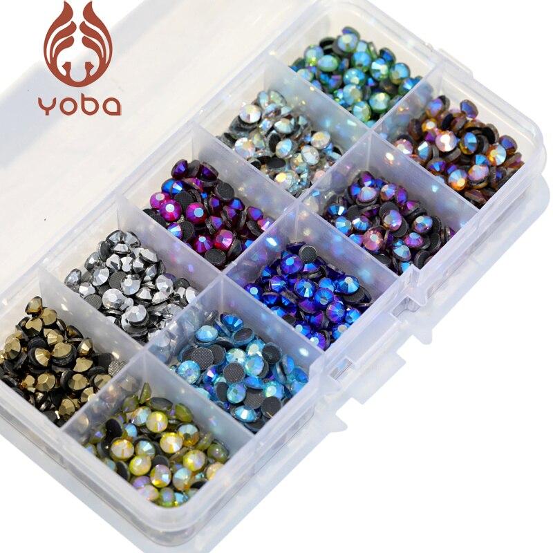 SS10 5000 stücke Mix Farben AB Mit Box! 10 farben DMC Hot Fix Strass Kristall Glas Strss Hotfix Strass Für Bekleidungs Y3023