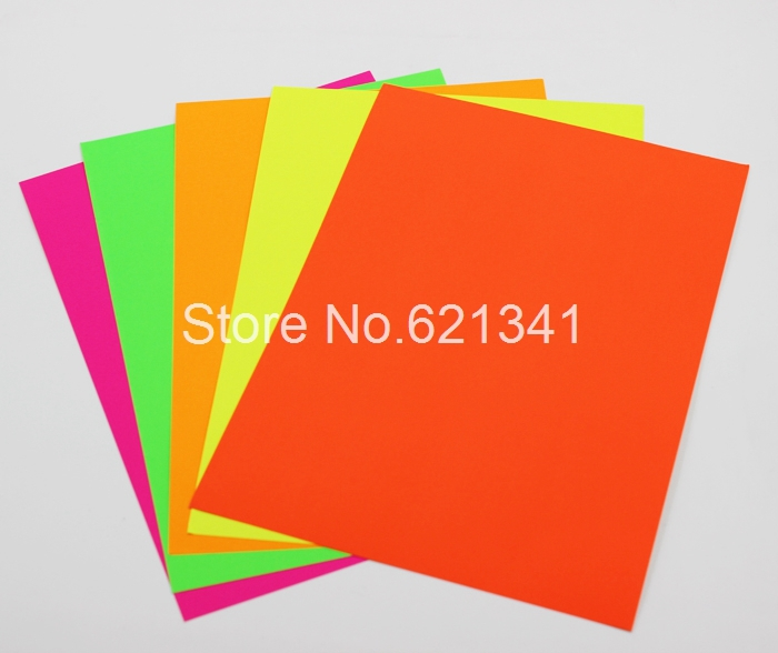 100 sheets a4 paper fluorescent neon green self adhesive fit laser