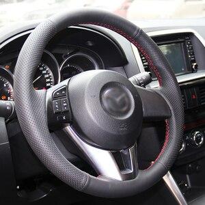 Image 3 - Brillante Grano Cucito a Mano Nero Artificiale Volante in Pelle Copertura Della Ruota di Copertura per Mazda CX 5 CX5 Atenza 2014 Nuova Mazda 3 CX 3 2016
