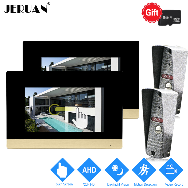 JERUAN 720P AHD Motion Detection 7`` Touch Screen Video DoorPhone Doorbell Intercom System 2 Record Monitor +2 HD IR Mini Camera jeruan 720p ahd motion detection 7 touch screen video door phone doorbell intercom system 2 record monitor hd ir mini camera