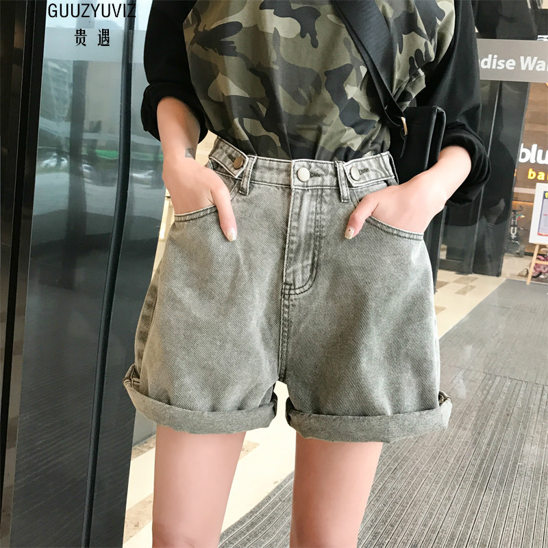 GUUZYUVIZ Casual Shorts Jeans Woman High Waist Denim Harem Short Femme Vintage Jean Short Women Summer Spodenki Damskie Mujer