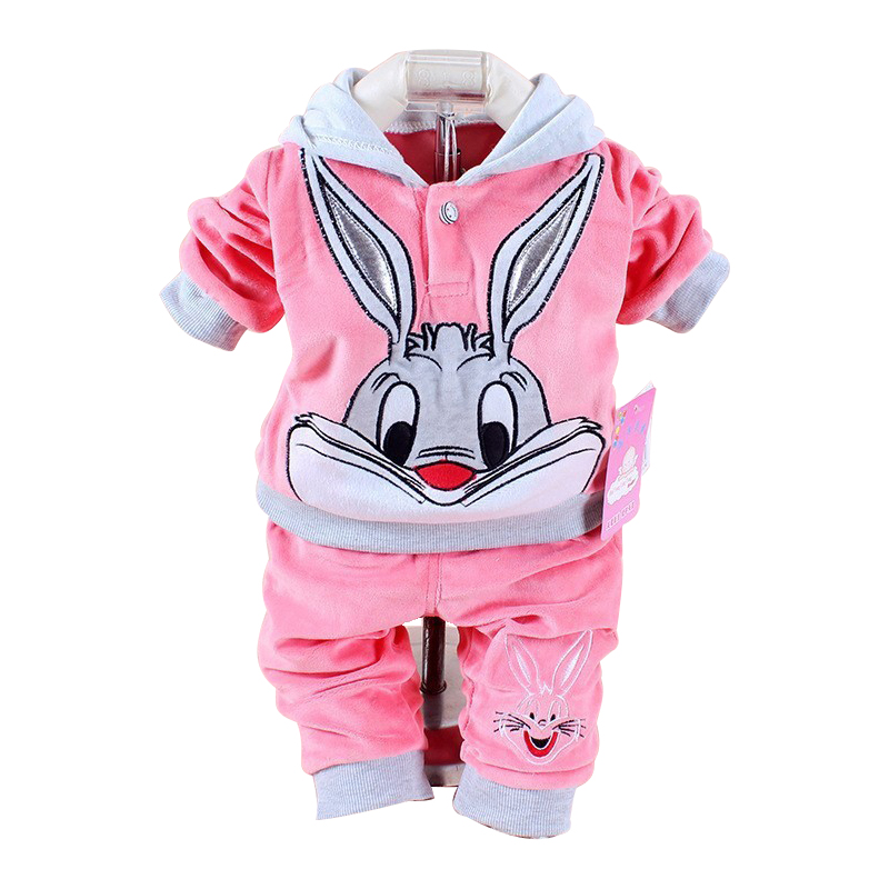 Velour Baby Cartoon-Print Rabbit Pant Hoodie Clothing Long-Sleeve Spring/autumn New Velvet