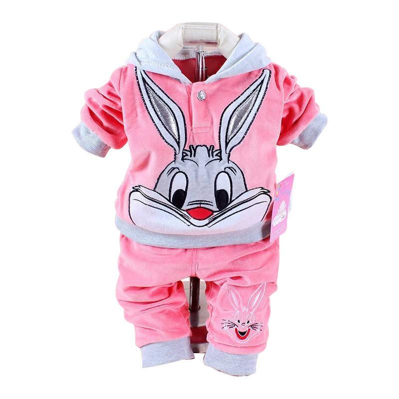 e2aefcc16 Retail New 2018 Spring/Autumn Baby Set Velvet Rabbit Cartoon Print Hoodie+ Pant  Twinset Long