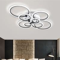 Black Rings Modern LED Chandelier Lights Living Dining Room Bedroom Home Decoration Circles Acrylic Lighting Lampara De Techo