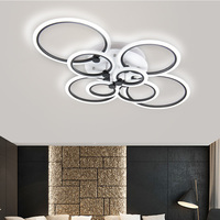 Black Rings Modern LED Chandelier Lights Living Dining Room Bedroom Home Decoration Circles Acrylic Lighting Lampara De Techo