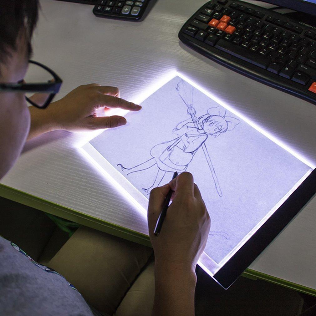 Carregamento USB A4 LED Ultra Fina Arte Cópia Fac-símile Prancheta de Desenho Pad Tablet Com Três Modo Ajustável