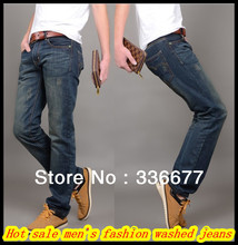 Free Shipping Preppy style fashion cotton slim fit washed denim/cowboy jeans for young men QR-2485