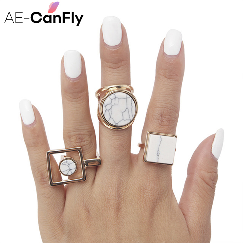 AE-CANFLY Finger-Ring Square Geometric Boho Ethnic Round Women 2D1015 Big
