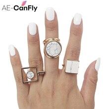 AE-CANFLY геометрическое круглое квадратное кольцо для большого пальца Бохо этническое женское кольцо в стиле хиппи 2D1015