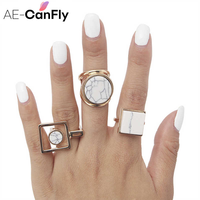 AE-CANFLY Geometric Round Square Big  Finger Ring Boho Ethnic Women Hippie Ring 2D1015