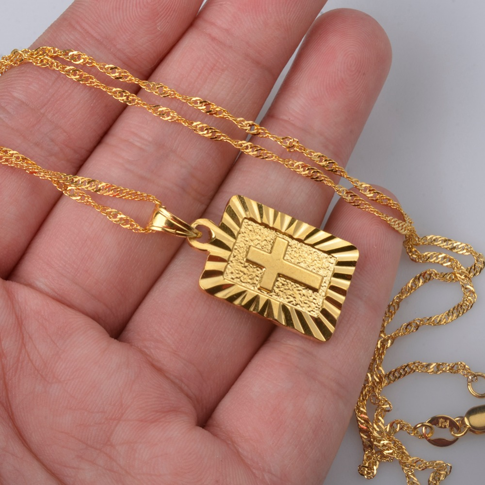 Anniyo Christian Cross Pendants Women Gold Color Christianity ...