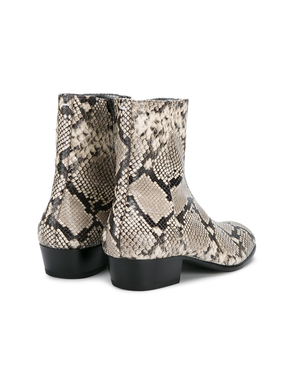 De Chelsea Print Botas Python Couro Ankle Empilhados Calcanhar Show Inverno Sapatos Militar Homens Genuíno Wyatt Boots Zapatos As dIwqrwxSz