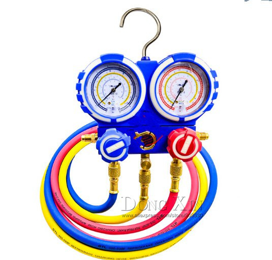 VMG-2-R410A Manilfold Pressure Gauge With hand-crarry plastic case,R410A, CE Approved, 3 pcs charging hoses