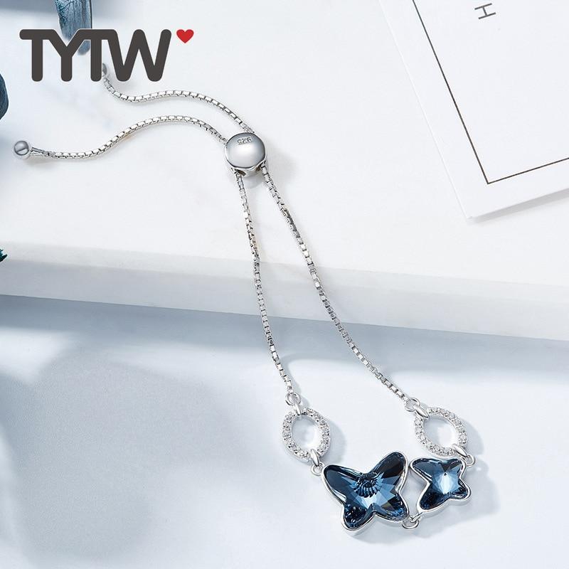 TYTW S925 cristales de plata esterlina de swarovski rodio grueso - Bisutería - foto 5
