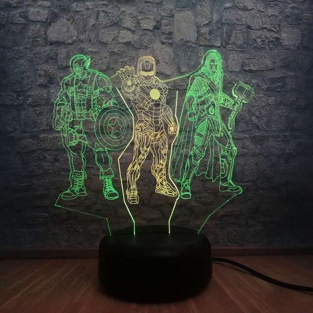 Vingadores Marvel 3D Conduziu a Lâmpada Luz Da Noite de Super-heróis homem De Ferro Capitão América Thor 7 Misto RGB Mudança de Cor Decoração Do Quarto brinquedos de Presente