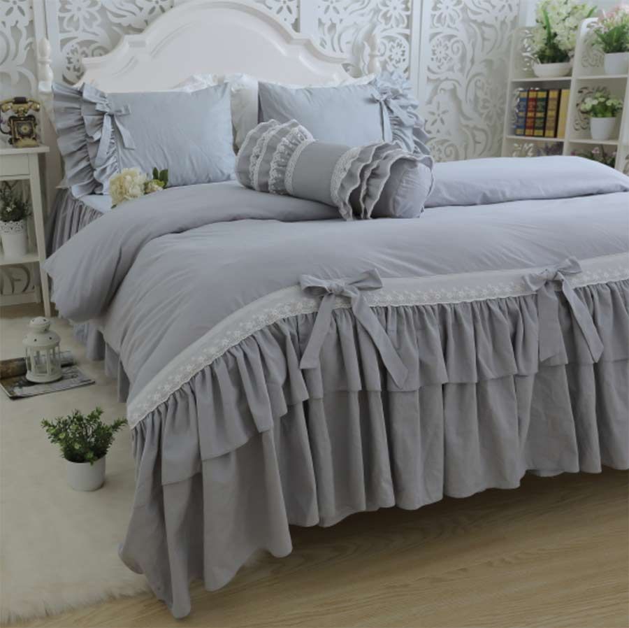 Princess ruffles pure grey bedding set,cotton twin full queen king,single double home textile pillow case quilt cover bedspread