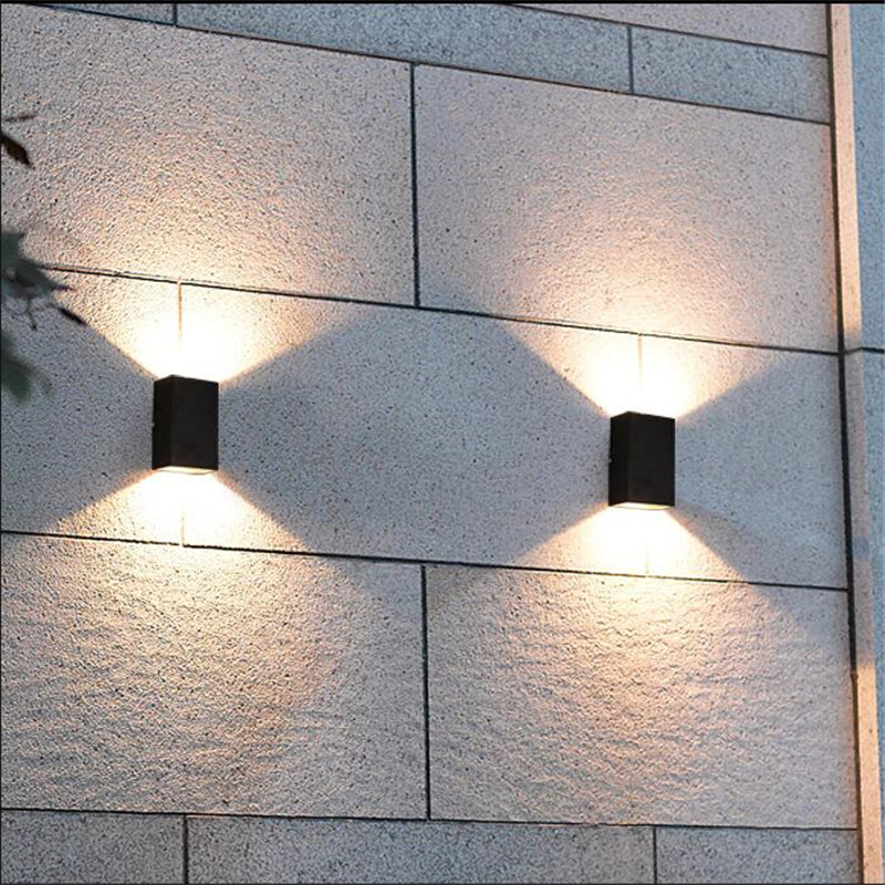 ФОТО Modern Brief Waterproof Anticorrosive Black Aluminum Led 2*5w Outdoor Wall Lamp for Garden Entrance Street Porch Light 1580