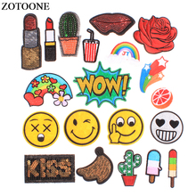 ZOTOONE Lips Letter Patch Rainbow Star Cartoon Iron On Patches Kids DIY Cute Sewing Embroidered Stickers For Clothing E