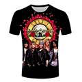 New fashion men hip hop t shirt 3d printed guns n roses t shirt mens 3d t-shirt t shirt male brand clothing for men