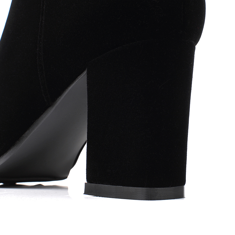 Plus Genou En De Cm Zipper Élégant Talons Femmes Bout Chaussures 2019 Mode Bottes Sexy Chunky Pointu Noir D'hiver Black 7 Daim 0Okn8XwP