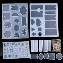 14 Pack Mix Jewelry Casting Molds Silicone Jewelry Molds With 100 Screw Eye Pins Mix  UV Resin Mold Necklace Pendant Making