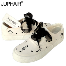 JUP Small Fresh Hand-painted Shoes Women's Graffiti Canvas Shoes College Girl White Simple Breathable  Summer Autumn Black Laces