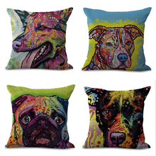 2018 CUSCOV  45*45cm Mery Christmas Dog Pattern Cotton Linen Throw Pillow Cover Home Decorative Pillowcase The factory source