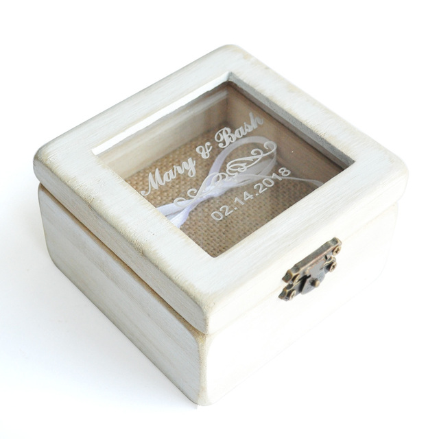 Customized Wedding Ring Box,Wedding Ring Box,Rustic Wedding Ring  Holder,Personalized Engraved