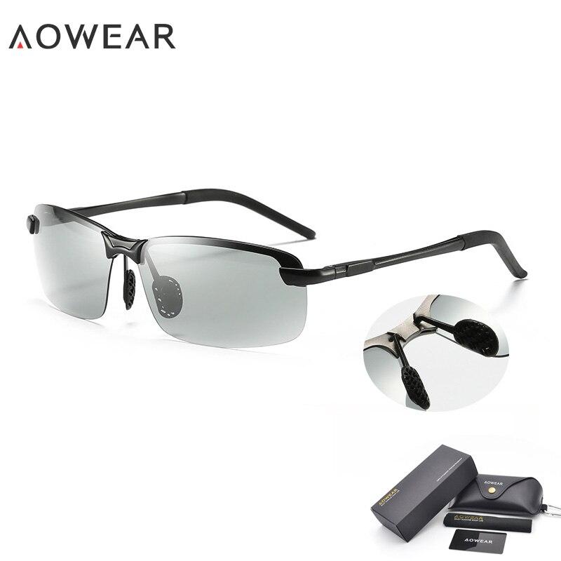 AOWEAR HD хамелеоны солнцезащитные очки мужские поляризованные фотохромные очки Хамелеон для мужчин день ночь вождения солнцезащитные очки Oculos gafas - Цвет линз: 7050A  Black