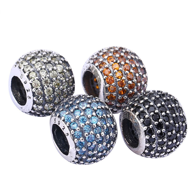 DIY Crystal Round Ball Beads Fit for Pandora Bracelet Women Jewelry Making Blue Black S925 Sterling Silver Charm Bead Gift
