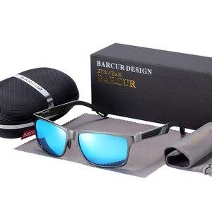 Image 3 - BARCUR الألومنيوم الاستقطاب النظارات الشمسية الرجال نظارات شمسية مستقطبة مربع حملق نظارات Gafas oculos دي سول masculino