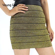 93656a7a0b Young Gee Women Gold Silver Sexy Tight Skirt Patchwork High Waist Mini Tube  Pencil Skirts