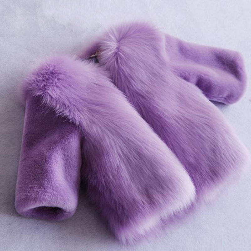 Fashion Faux Fur Kids Girls Winter Coat Thick Parkas -4902