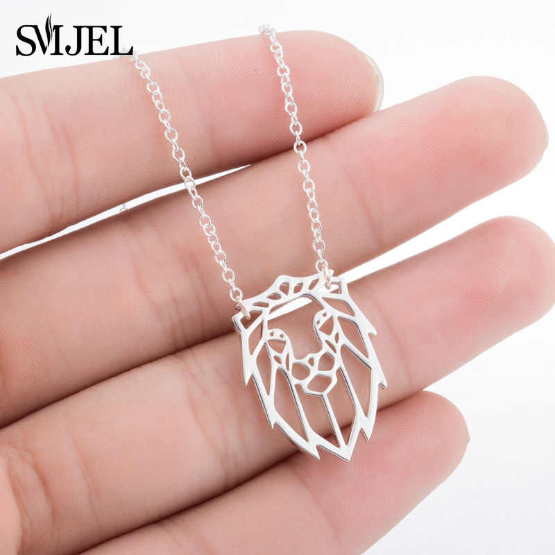 SMJEL Vintage Lion Necklaces & Pendants Origami Animal Lion Head Necklace Ladies Friend Gift Women Clothing Accessories collier