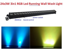 Venta caliente 2016 Led Luz de La Colada 24 unids 3 W RGB 3in1 Línea de Barra de Luces del Escenario LED Con Función Caballo Corriente Led Individuales Control