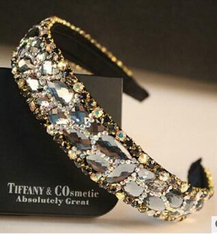 fashion jewelry Sparkling crystal shine gauze ribbon bride hair accessory full rhinestone female - sale item Headwear