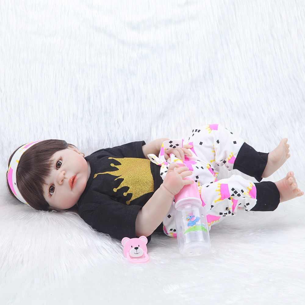 """Новый дизайн 23 """"реалистичный ребенок reborn menina 57 см Силиконовые Реалистичные виниловые детские игрушки с париком для детей Рождественский подарок"""