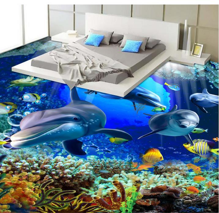 ФОТО 3D stereoscopic floor wallpaper 3d PVC bathroom wallpaper Underwater World Dolphin self-adhesive 3d floor stickers