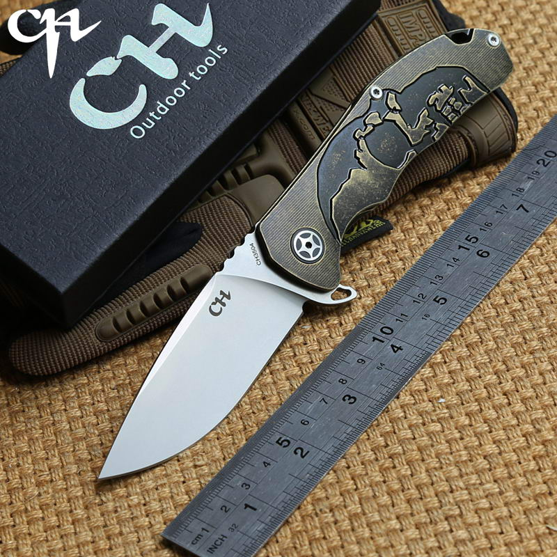 CH 3504 original design Flipper folding knife S35VN Blade ball bearings TC4 Titanium handle camping Drills Saws knife EDC tools bestlead chinese peony pattern zirconia ceramics 4 6 knife chopping knife peeler holder