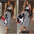 2016 burst models women's new fall and winter body sexy skirt women skirt was thin Mickey striped skirt C27